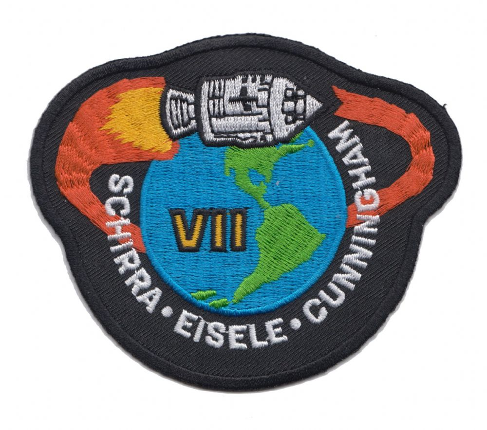 NASA Apollo 7 Patch Black background Mission Patch 1